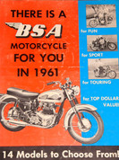 1961 BSA motorcycle all model brochure catalog
