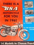 1961 BSA motorcycle all model brochure catalog