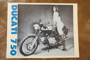 1972 Ducati 750 gt spec sheet brochure pinup girl