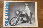 1972 Ducati 750 gt spec sheet brochure pinup girl