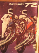 1972 Kawasaki foil 3D poster brochure sales catalog full model line