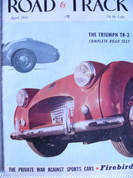 Triumph TR2,Mercedes 300SL,MG,Road and Track magazine April 1954