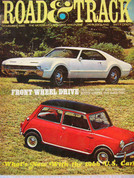 Mercedes 230 SL,Mini 1275,Toronado, Road and Track magazine November 1965