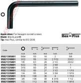 "05021315001 WERA 950 HEX PLUS HEX KEY 1/8"" X 2-7/16"""