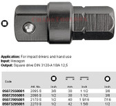 """05072550001 WERA 2095S ADAPTOR 38MM 3/8"""" HEX 3/8"""" SQ DRIVE"""