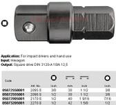 """05072905001 WERA 2170S ADPTR 40MM 7/16"""" HEX 1/2"""" SQ DR"""