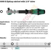 "WERA 05003550001 8000 B ZYKLOP SPEED RATCHET 3/8"" ZYKLOP RATCHET WITH 3/8"" DRIVE"