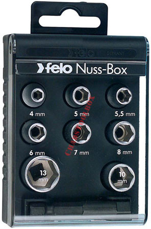 "22198 FELO 1/4"" Nut Box with 8 Nutdrivers & Adapter"