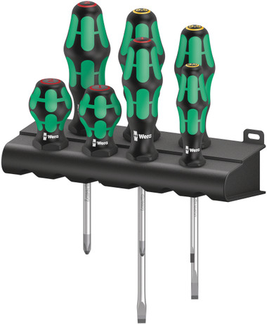 WERA 05008900001 Mixed Kraftform and Stubby Set; 7 pieces; 350 PH 1 and PH 2; SL 335 and 334 3,0/5,5/6,5; Stubby PH 1 and PH 2 300/7 Mix 1