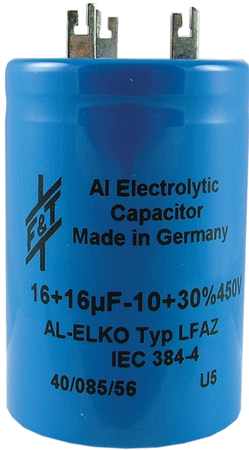 F&T Capacitor - Electrolytic, Multi-Section, Can, 50/50µF 500V