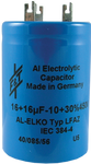 F&T Capacitor - Electrolytic, Multi-Section, Can, 100/100µF 500V