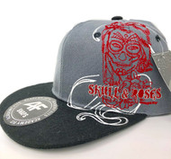 Skull & Roses Baseball Cap Grey/Black