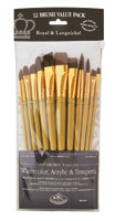 Royal Brush Set Brown Taklon 12pk