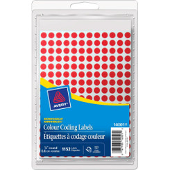 """Avery Coding Labels Round 1/4"""" Red 192/ sheet 4-sheets"""