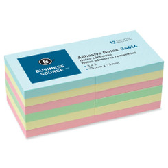 Business Source Sticky Notes 3x3 12pk Pastel