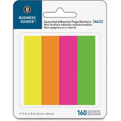 Business Source Adhesive Tabs Neon 4pad Pack