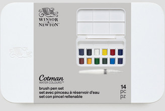 Cotman Watercolour Set with Water Brush 14pc