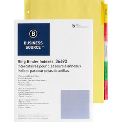 Business Source Tab Dividers 5pk Colours 3-Hole