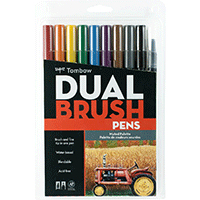 Tombow Dual Brush Pens 10pk Muted Colours Set