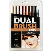 Tombow Dual Brush Pens 10pk Portrait Colours Set