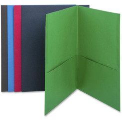 Business Source 2-Pocket Folders 25pk assorted