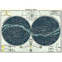 "Cavallini Decorative Paper 20x28"" sheet Celestial Chart"
