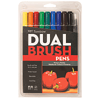 Tombow Dual Brush Pens 10pk Primary Colours Set