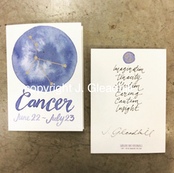Hand-Painted Art Card by J. Gleadhill - Cancer Birthday Card