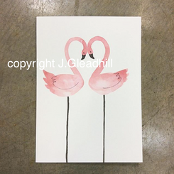 Hand-Painted Art Card by J. Gleadhill - Heart Flamingos