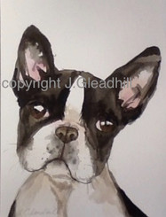 Hand-Painted Art by J. Gleadhill - Boston Terrier