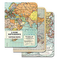 Cavillini Mini Notebooks 3pk World Maps *NEW*