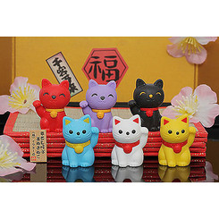 Iwako Eraser Lucky Cat Blue (CATBU)