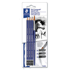 Staedtler Aquarell Water-Soluble Pencils (4B,6B,8B)+ brush