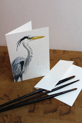J Gleadhill Hand-Painted Art Card - Heron