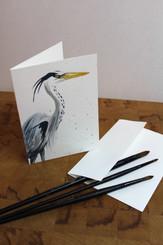 J Gleadhill Hand-Painted Art Card - Heron