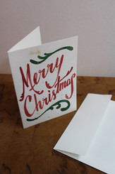 J Gleadhill Hand-Painted Art Card - Merry Christmas Red with Green