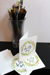 J Gleadhill Hand-Painted Art Card - Holly Day