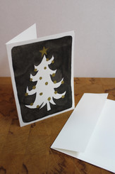 J Gleadhill Hand-Painted Art Card - Black/white tree