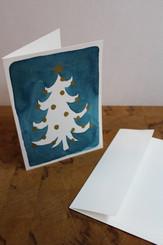J Gleadhill Hand-Painted Art Card - Teal/white tree
