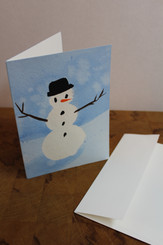 J Gleadhill Hand-Painted Art Card - Snowman