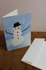 J Gleadhill Hand-Painted Art Card - Snowman