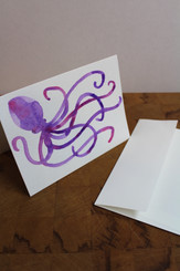 J Gleadhill Hand-Painted Art Card - Octopus
