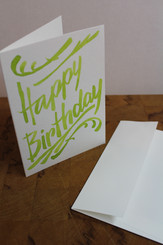 J Gleadhill Hand-Painted Art Card - HappyBDay Lime