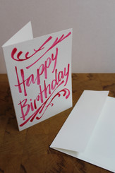 J Gleadhill Hand-Painted Art Card - Happy Birthday Magenta