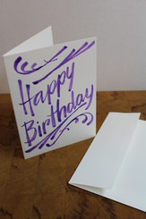 J Gleadhill Hand-Painted Art Card - Happy Birthday Purple
