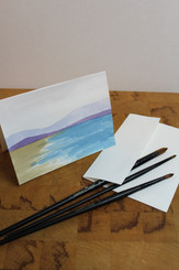J Gleadhill Hand-Painted Art Card - Beach Scene