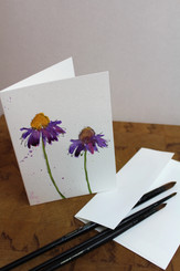 J Gleadhill Hand-Painted Art Card - Flowers Purple