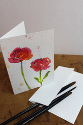 J Gleadhill Hand-Painted Art Card - Flowers Pink