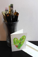 J Gleadhill Hand-Painted Art Card - Lime Heart