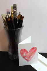J Gleadhill Hand-Painted Art Card - Red Heart